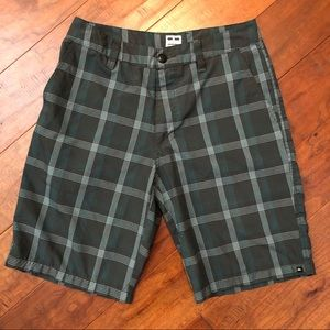 Quicksilver | Men's Gray and Teal Plaid Shorts